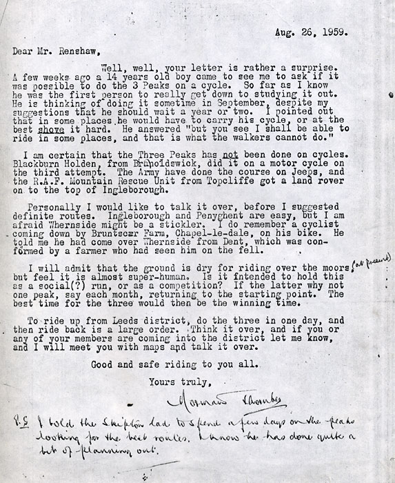 NORMAN THORNBER'S LETTER TO MALCOLM RENSHAW